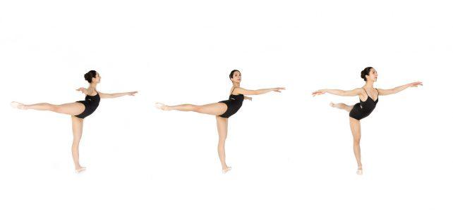 ballet basics demonstration of the first arabesque