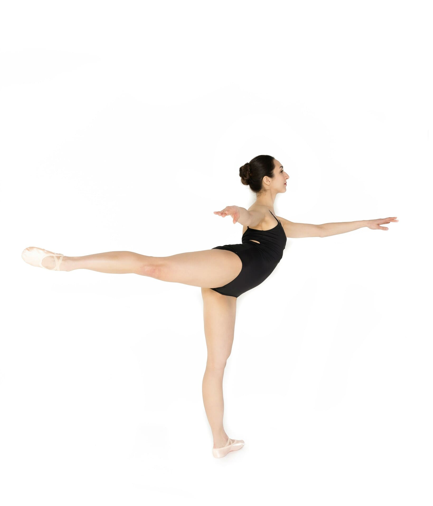 ballerina showing first arabesque
